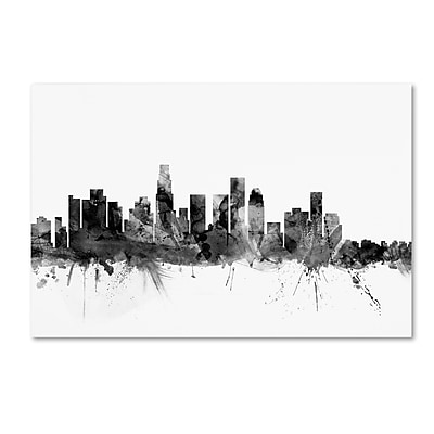 Trademark Fine Art Michael Tompsett 'Los Angeles CA Skyline B&W' 12