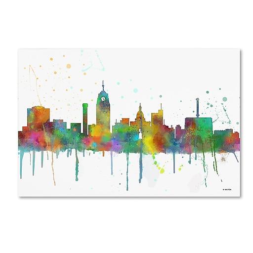 """Trademark Fine Art Marlene Watson 'Lansing Michigan Skyline Mclr-1' 12"""" x 19"""" Canvas Stretched (190836205288)"""