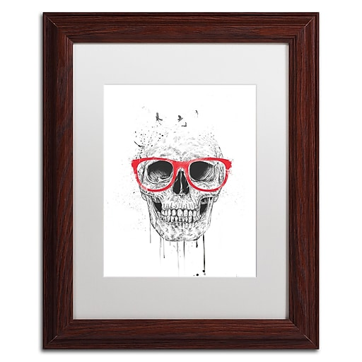 "Trademark Fine Art Balazs Solti 'Skull With Red Glasses' 11"" x 14"" Matted Framed (190836178568)"