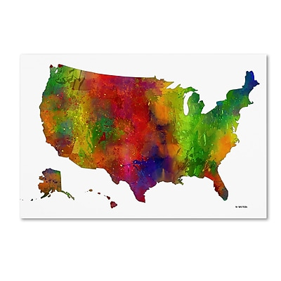 Trademark Fine Art Marlene Watson 'USA Map Clr-1' 12