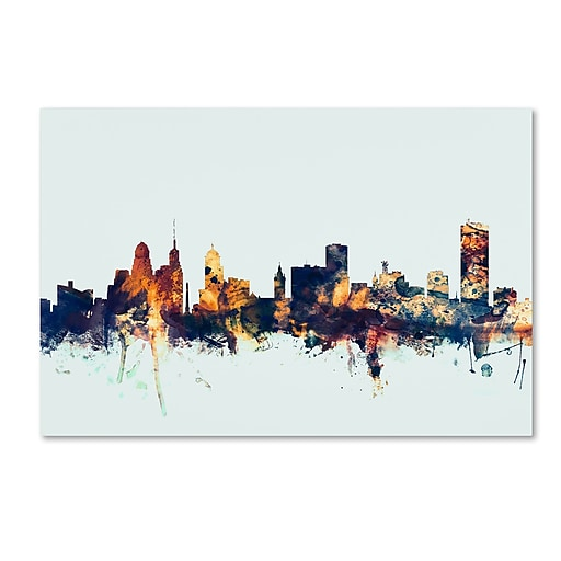 "Trademark Fine Art Michael Tompsett 'Buffalo New York Skyline Blue' 12"" x 19"" Canvas Stretched (190836088768)"