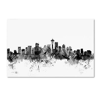 Trademark Fine Art Michael Tompsett 'Seattle Washington Skyline B&W' 12