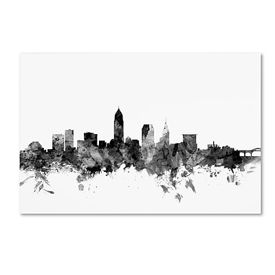 Trademark Fine Art Michael Tompsett 'Cleveland Ohio Skyline B&W' 12