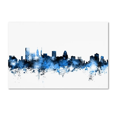 Trademark Fine Art Michael Tompsett 'Baltimore MD Skyline White' 12