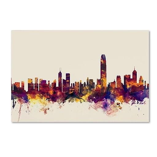 """Trademark Fine Art Michael Tompsett 'Hong Kong Skyline' 12"""" x 19"""" Canvas Stretched (190836023271)"""