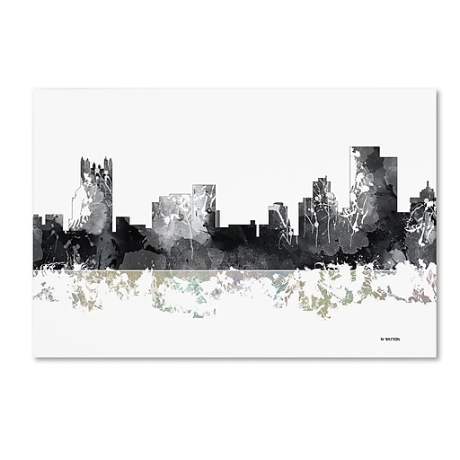 "Trademark Fine Art Marlene Watson 'Pittsburgh Pennsylvania Skyline BG-1' 12"" x 19"" Canvas Stretched (190836197026)"