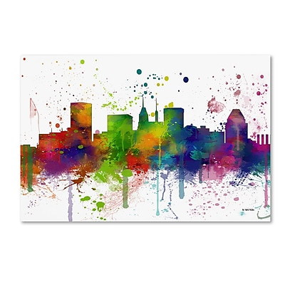 Trademark Fine Art Marlene Watson 'Baltimore Maryland Skyline Mclr-1' 12