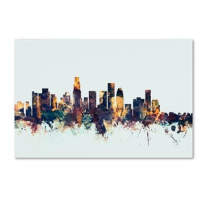 Trademark Fine Art Michael Tompsett 'Los Angeles CA Skyline Blue' 12