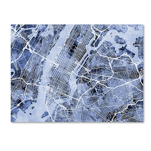 "Trademark Fine Art Michael Tompsett 'New York City Street Map B&W' 14"" x 19"" Canvas Stretched (190836017218)"