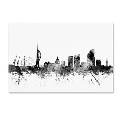 Trademark Fine Art Michael Tompsett 'Portsmouth England Skyline B&W' 12