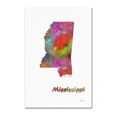 Trademark Fine Art Marlene Watson 'Mississippi State Map-1' 12