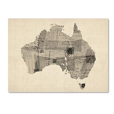 Trademark Fine Art Michael Tompsett 'Old Postcard Map of Australia' 14
