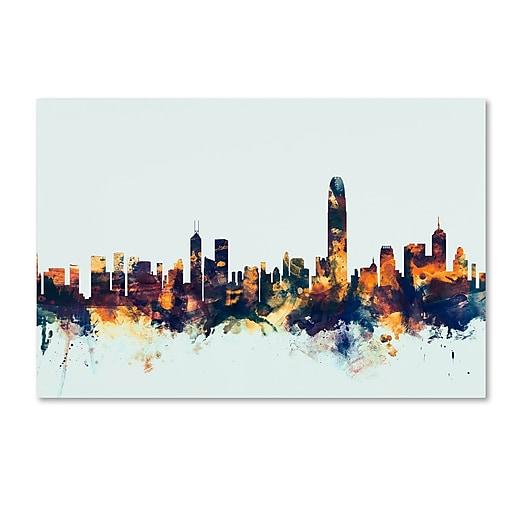 """Trademark Fine Art Michael Tompsett 'Hong Kong Skyline Blue' 12"""" x 19"""" Canvas Stretched (190836083022)"""