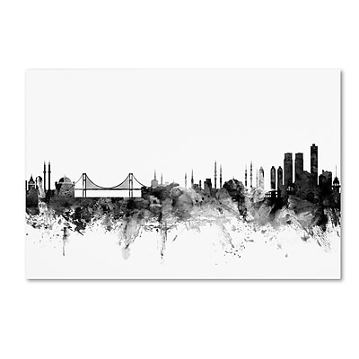 Trademark Fine Art Michael Tompsett 'Istanbul Turkey Skyline B&W' 12