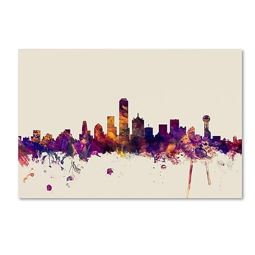 "Trademark Fine Art Michael Tompsett 'Dallas Texas Skyline' 12"" x 19"" Canvas Stretched (190836024230)"