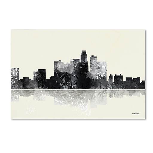"Trademark Fine Art Marlene Watson 'Los Angeles California Skyline BG-1' 12"" x 19"" Canvas Stretched (190836194643)"