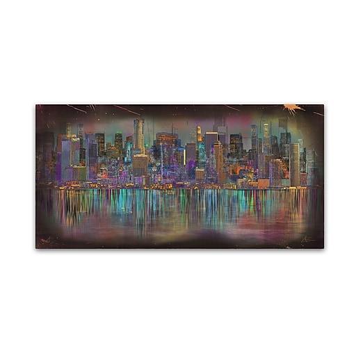 """Trademark Fine Art Ellicia Amando 'Los Angeles' 10"""" x 19"""" Canvas Stretched (190836278626)"""