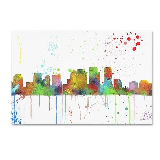 """Trademark Fine Art Marlene Watson 'Tampa Florida Skyline Mclr-1' 12"""" x 19"""" Canvas Stretched (190836211302)"""