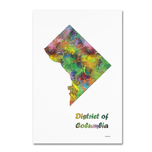"""Trademark Fine Art Marlene Watson 'District of Columbia State Map-1' 12"""" x 19"""" Canvas Stretched (190836213542)"""