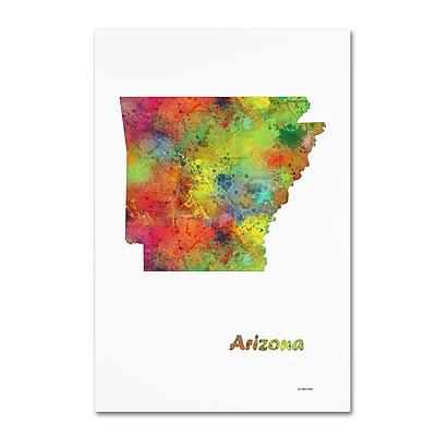 Trademark Fine Art Marlene Watson 'Arizona State Map-1' 12