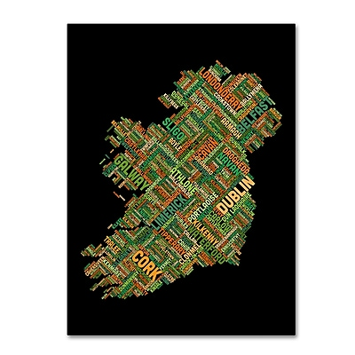 Trademark Fine Art Michael Tompsett 'Ireland Eire City Text Map' 14