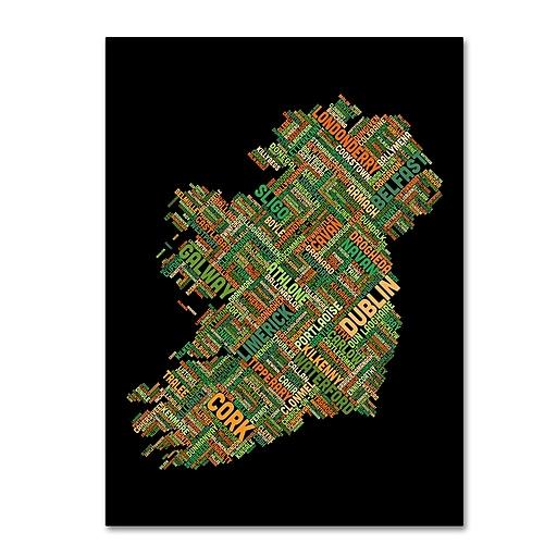"Trademark Fine Art Michael Tompsett 'Ireland Eire City Text Map' 14"" x 19"" Canvas (190836013517)"
