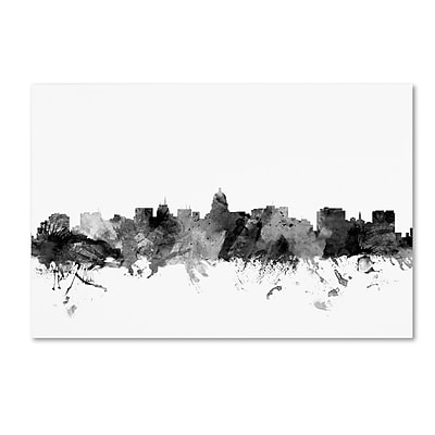 Trademark Fine Art Michael Tompsett 'Madison Wisconsin Skyline B&W' 12