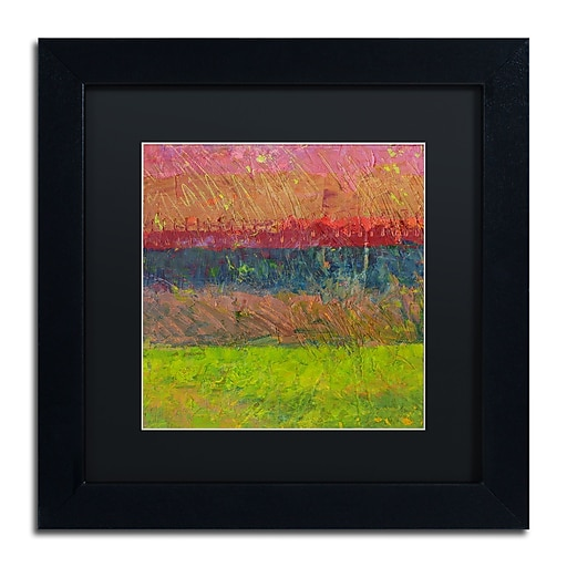 "Trademark Fine Art Michelle Calkins 'Lake and Hills' 11"" x 11"" Matted Framed (190836069866)"