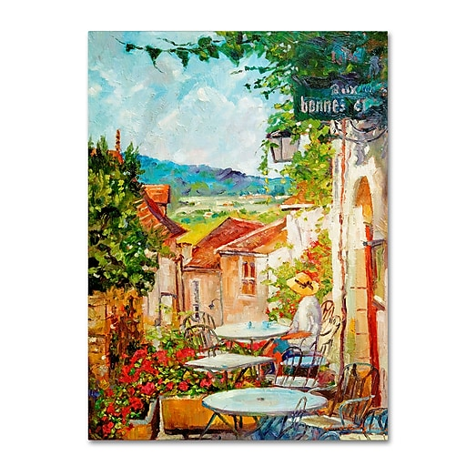 "Trademark Fine Art David Lloyd Glover 'Provence Cafe Morning' 14"" x 19"" Canvas Stretched (190836228546)"