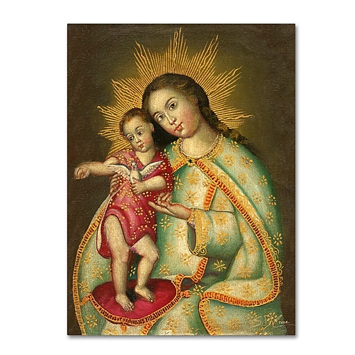 """Trademark Fine Art Sergio Cruze 'The Virgin and Son II' 14"""" x 19"""" Canvas Stretched (190836013005)"""