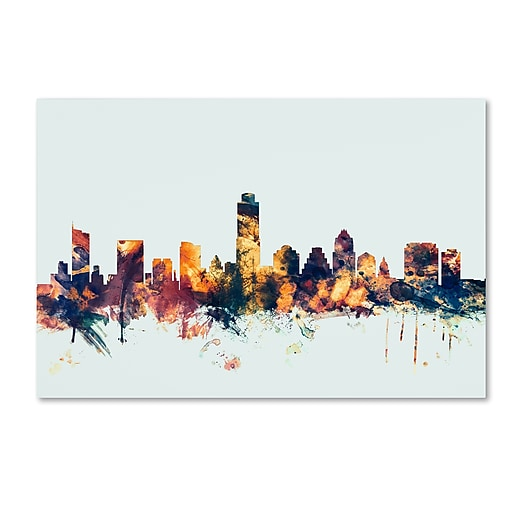 "Trademark Fine Art Michael Tompsett 'Austin Texas Skyline Blue' 12"" x 19"" Canvas Stretched (190836084807)"