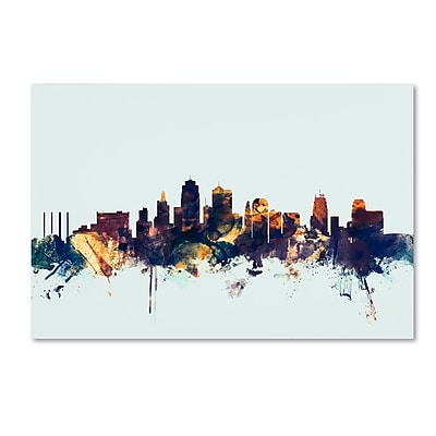 Trademark Fine Art Michael Tompsett 'Kansas City Skyline Blue' 12