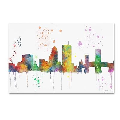 Trademark Fine Art Marlene Watson 'Jacksonville Florida Skyline Mclr-1' 12
