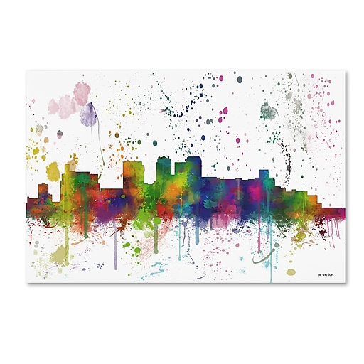 "Trademark Fine Art Marlene Watson 'Birmingham Alabama Skyline Mclr-1' 12"" x 19"" Canvas Stretched (190836202201)"