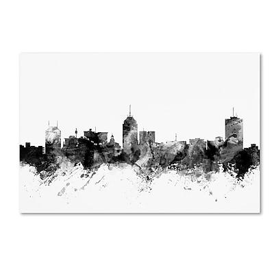 Trademark Fine Art Michael Tompsett 'Fresno California Skyline BW' 12