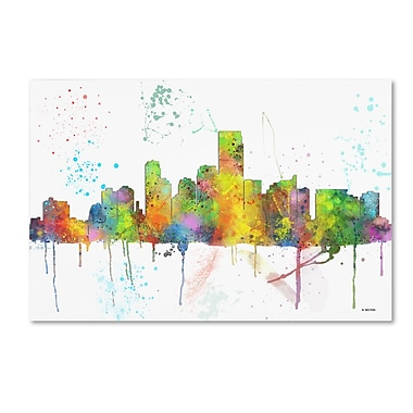 Trademark Fine Art Marlene Watson 'Jersey City New Jersey Skyline Mclr-1' 12