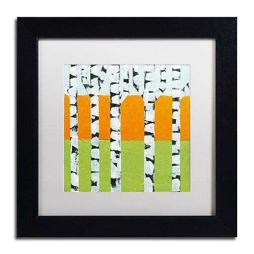 "Trademark Fine Art Michelle Calkins 'Seasonal Birches - Spring' 11"" x 11"" Matted Framed (190836102518)"