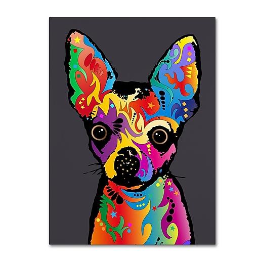 "Trademark Fine Art Michael Tompsett 'Chihuahua Dog Grey' 14"" x 19"" Canvas (190836022793)"