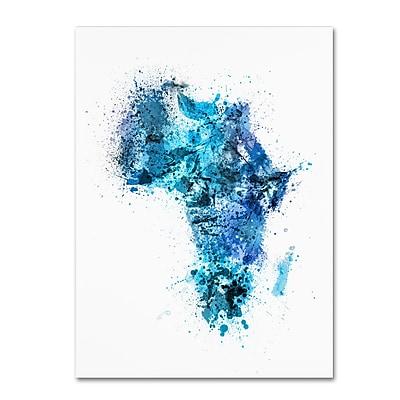 Trademark Fine Art Michael Tompsett 'Paint Splashes Map of Africa' 14