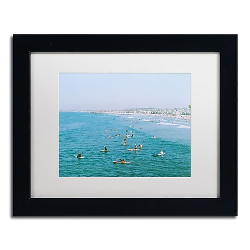 "Trademark Fine Art Ariane Moshayedi 'Newport Beach Surfers' 11"" x 14"" Matted Framed (190836270569)"