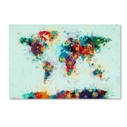 "Trademark Fine Art Michael Tompsett 'World Map Paint Splashes' 12"" x 19"" Canvas Stretched (190836021833)"
