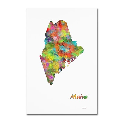 Trademark Fine Art Marlene Watson 'Maine State Map-1' 12