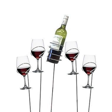 Mind Reader 'Picnic' Wine Bottle and Glass Holder Sticks, 5 Piece Set (WSTIX5-SIL)