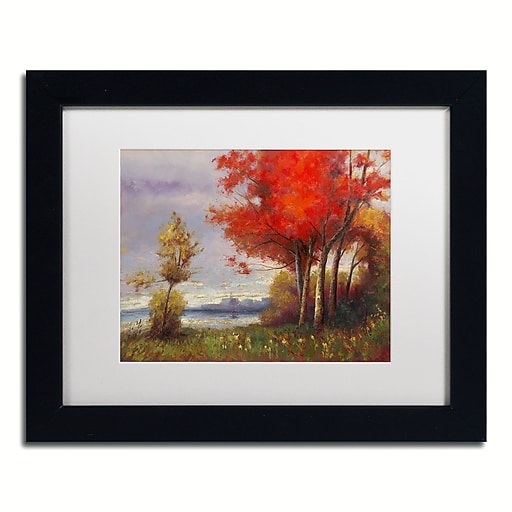 "Trademark Fine Art Daniel Moises 'Landscape with Red Trees' 11"" x 14"" Matted Framed (190836189052)"