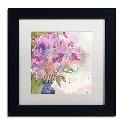 Trademark Fine Art Sheila Golden 'Magenta Blossoms in Blue Vase' 11