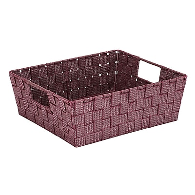 Simplify Large Lurexx Striped Woven Storage Bin in Burgundy