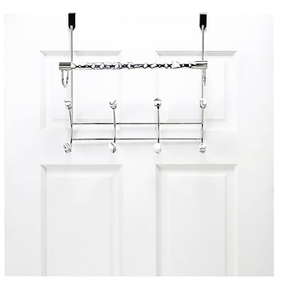 Bath Bliss Marble Tube Over the Door 8 Hook and Towel Bar Rack