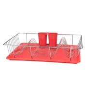 Kitchen Details 3 Piece Chrome Dishrack with Tray in Red