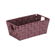 Simplify Small Lurexx Striped Woven Storage Bin in Burgundy