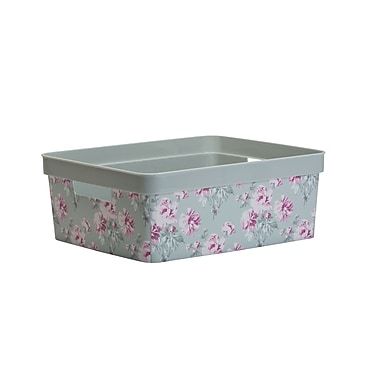 Laura Ashley Medium Resin Storage Bin in Beatrice Grey